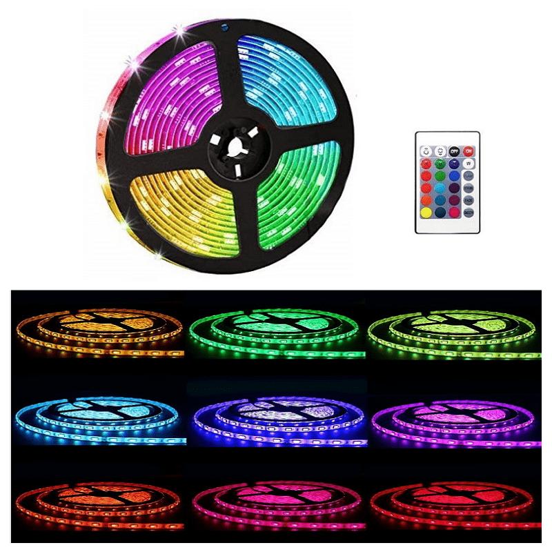 14.9 - Εύκαμπτη Αδιάβροχη Ταινία 5 m LED RGB με Τηλεχειριστήριο