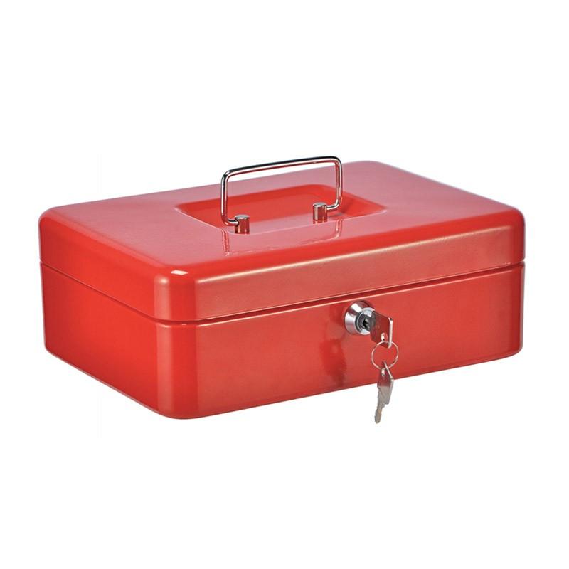 Μεταλλικό Κουτί Ταμείου με Κλειδαριά & Εργονομική Λαβή Χρώματος Κόκκινο