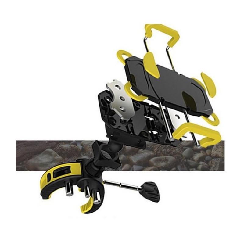 Ρυθμιζόμενη Βάση Κινητού για Ποδήλατο Χρώματος Κίτρινο
