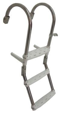 71.57 - Σκάλα Inox Αναδιπλούμενη Καθρέπτου Κουπαστής Με 3 Σκαλοπάτια