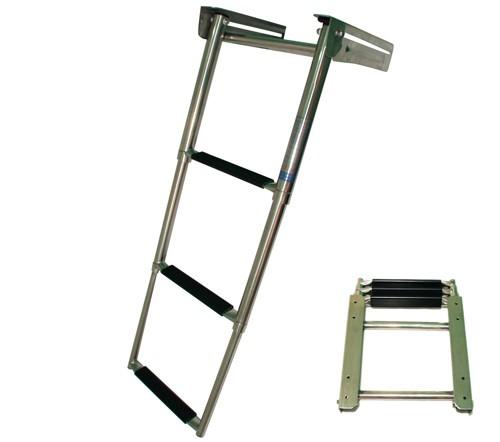 172.46 - Σκάλα Πτυσσόμενη Πλατφόρμας Ανοξείδωτη 115,5cm Με 4 Σκαλοπάτια