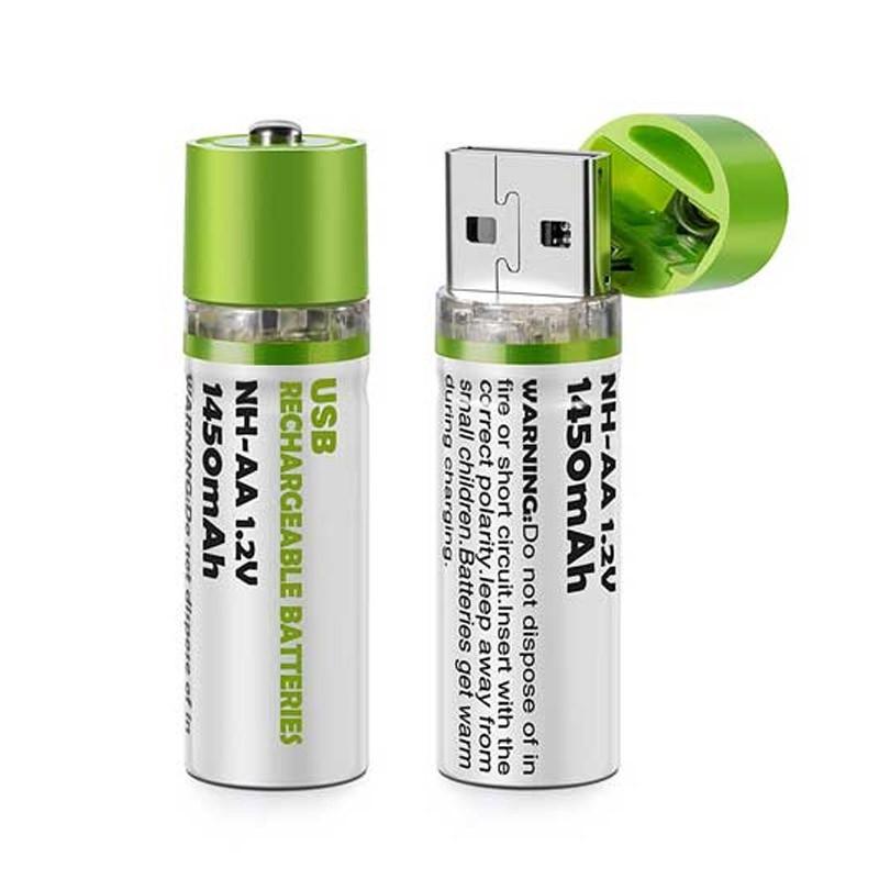 Σετ Επαναφορτιζόμενες Μπαταρίες ΑΑ με Βύσμα USB – 2 Τεμάχια