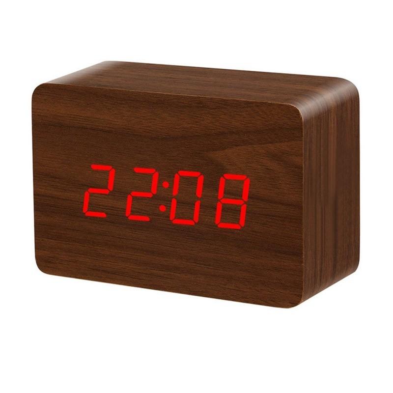 Ξύλινο Επιτραπέζιο Ρολόι - Ξυπνητήρι με Αισθητήρα Χρώματος Καφέ Μεγάλο