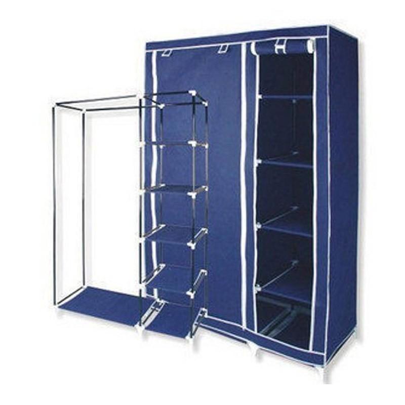 Υφασμάτινη Φορητή Ντουλάπα Χρώματος Μπλε 110 x 46 x 175 cm
