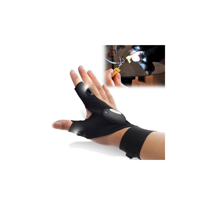 Αδιάβροχο Γάντι Δύο Δακτύλων με Φακούς LED