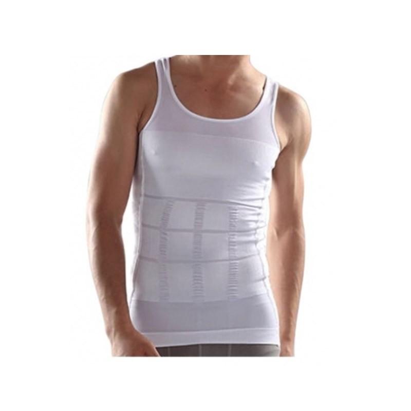 11.9 - Αόρατη Ανδρική Φανέλα Lastex Σύσφιξης Κοιλιάς και Αδυνατίσματος Χρώματος Λευκό Slim N Lift