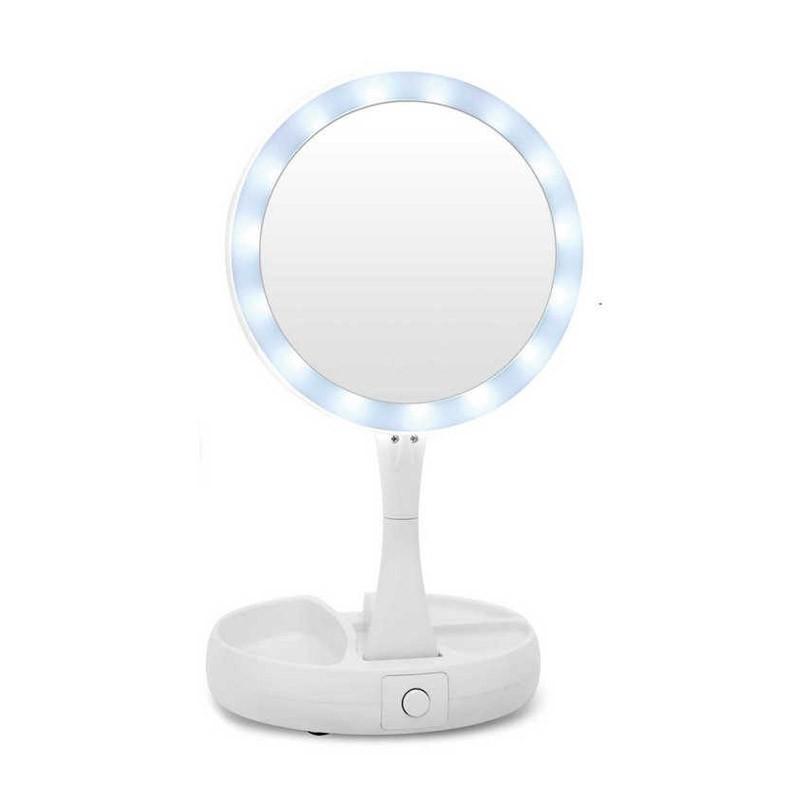 Διπλός Πτυσσόμενος Μεγεθυντικός Καθρέφτης με Φωτισμό LED