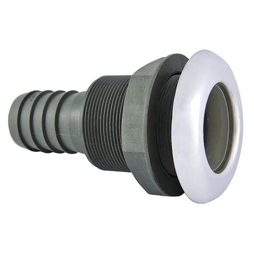 23.53 - Υδρορροή Ανεπίστροφη Πλαστική Για Σωλήνα Ø38mm & Καπάκι Inox