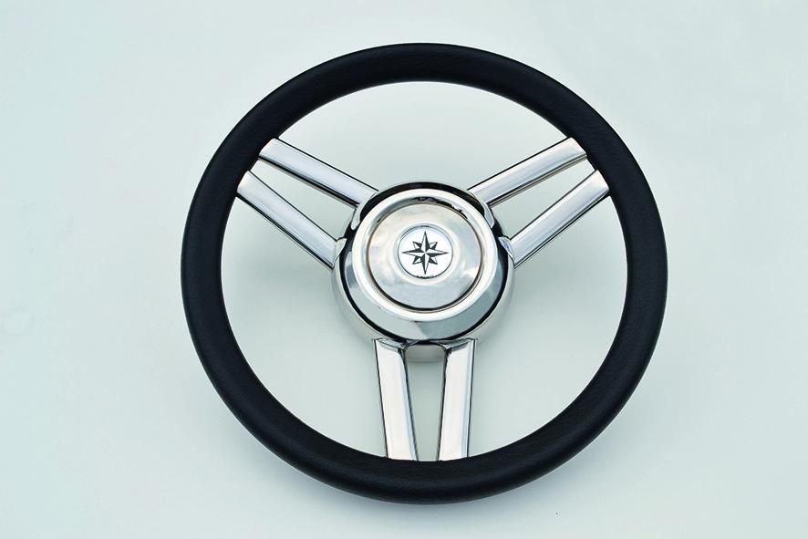 154.03 - Τιμόνι Πολυουρεθάνης Με Inox Ακτίνες Χρώμα Μαύρο Ø350mm
