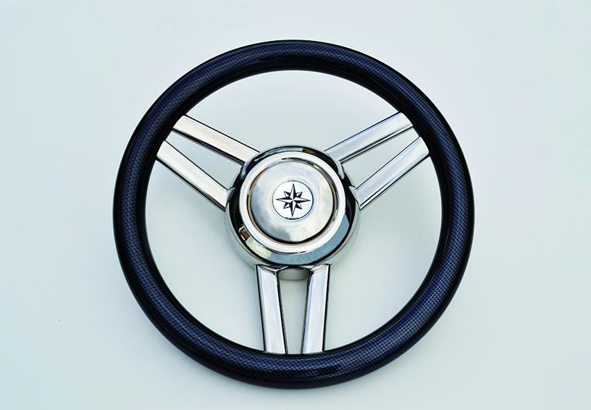 233.2 - Τιμόνι Πολυουρεθάνης Με Inox Ακτίνες Χρώμα Carbon Ø350mm