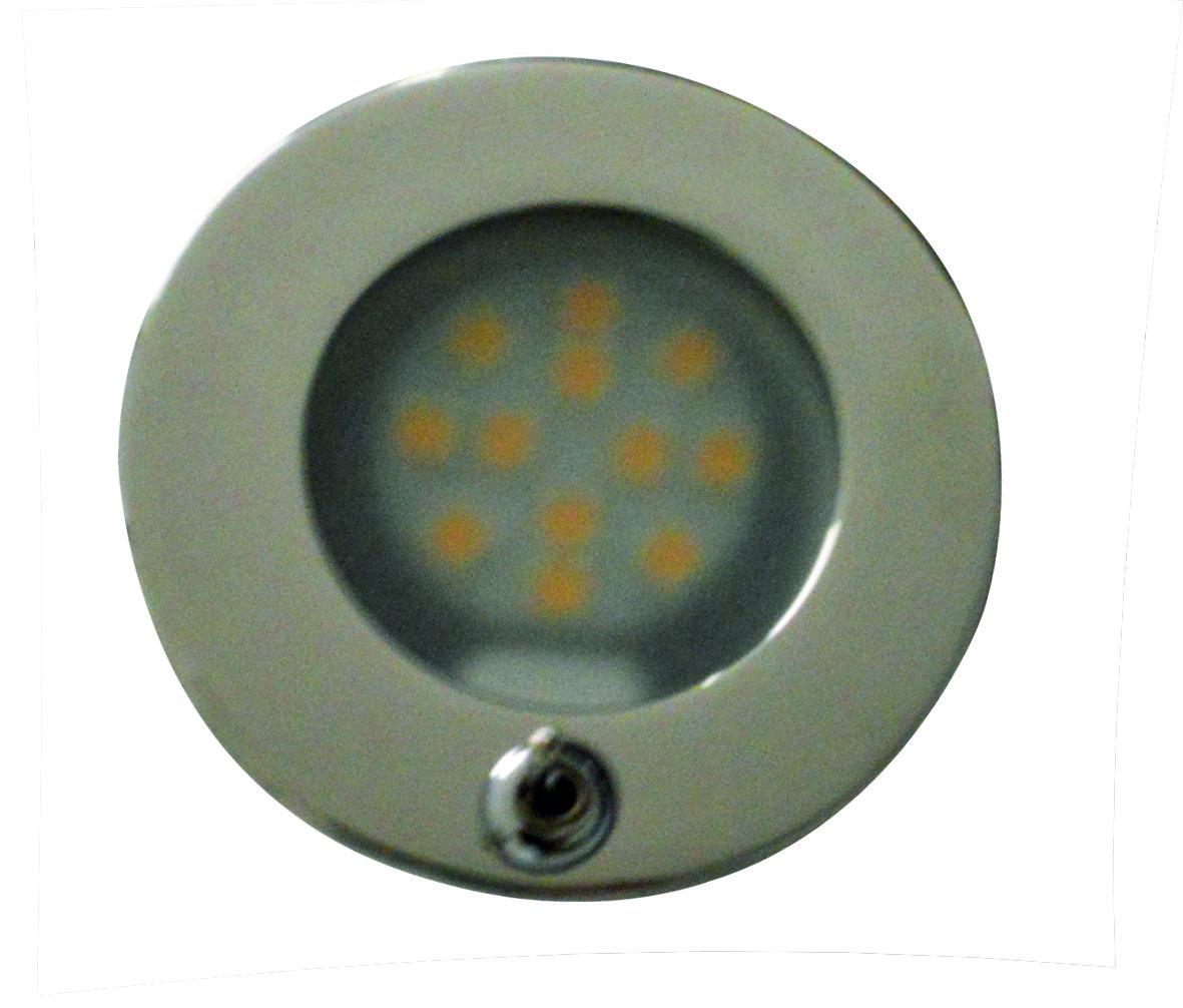 51.08 - Πλαφονιέρα Ανοξείδωτη LED Με Διακόπτη 2,16W