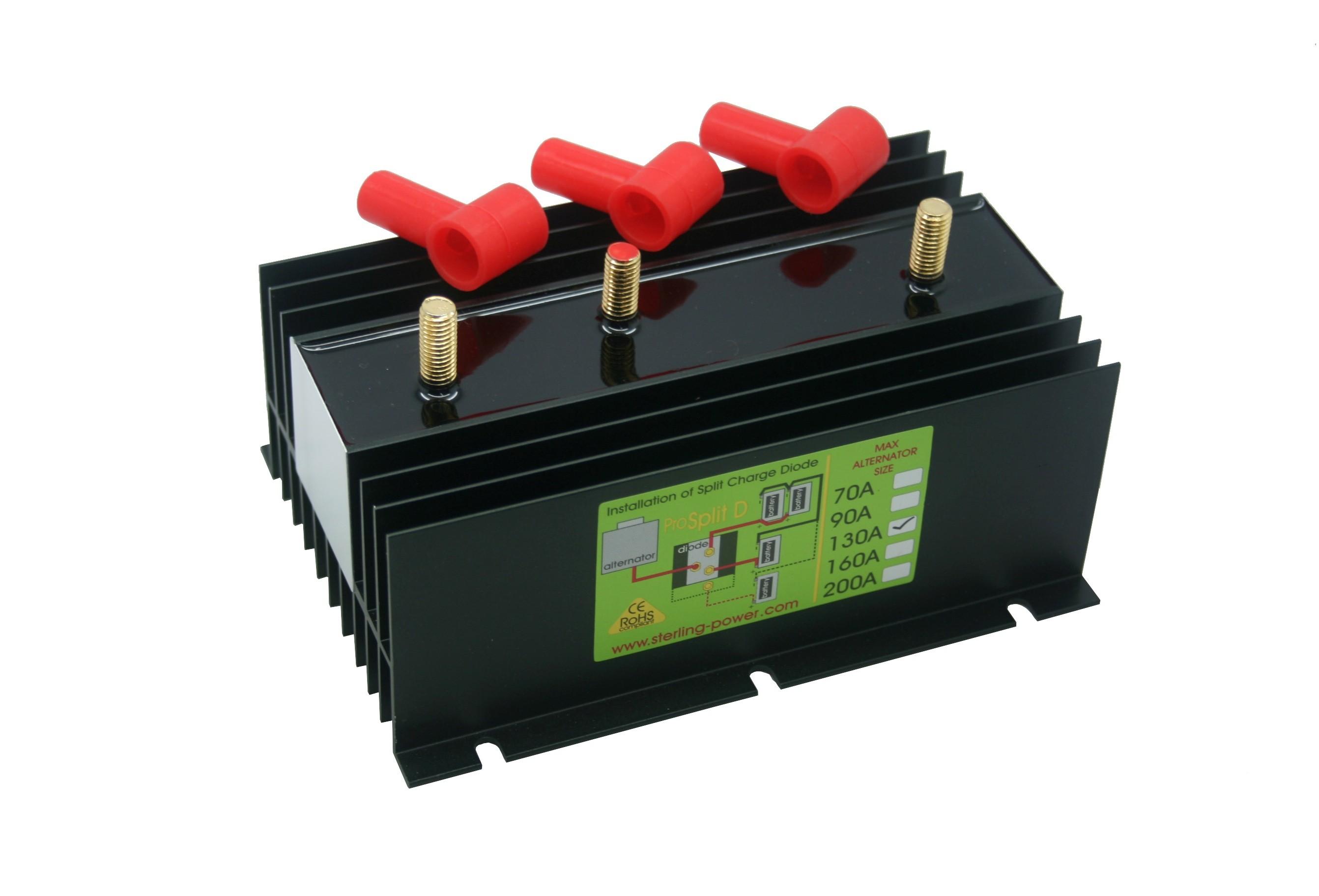 128.86 - Διαχωριστής Φόρτισης - Ισοσταθμιστής Μπαταριών Pro Split 130Amp Με 2 Εξόδους