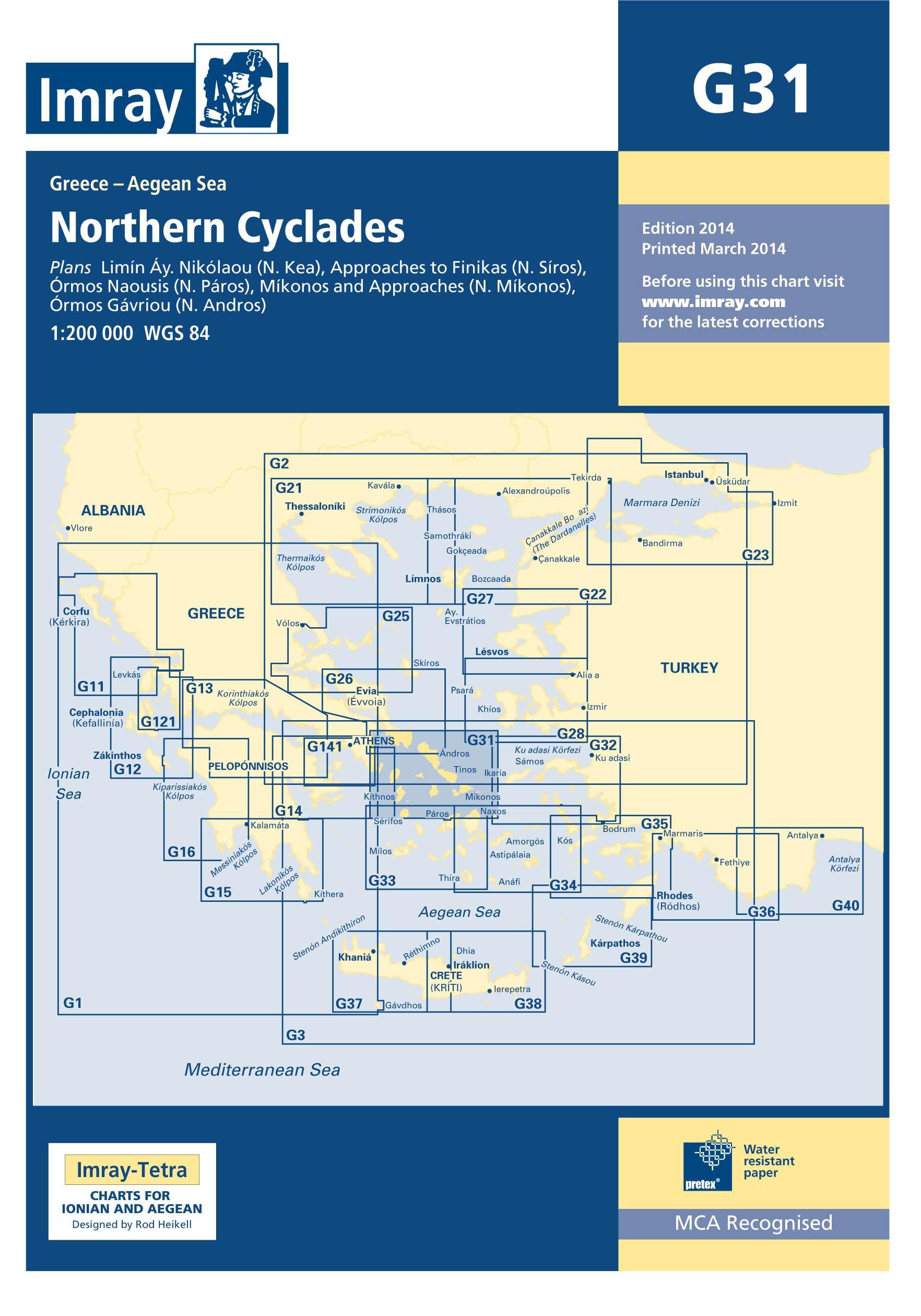 33.53 - Ναυτικός Χάρτης IMRAY ICG31-1 Βόρειες Κυκλάδες