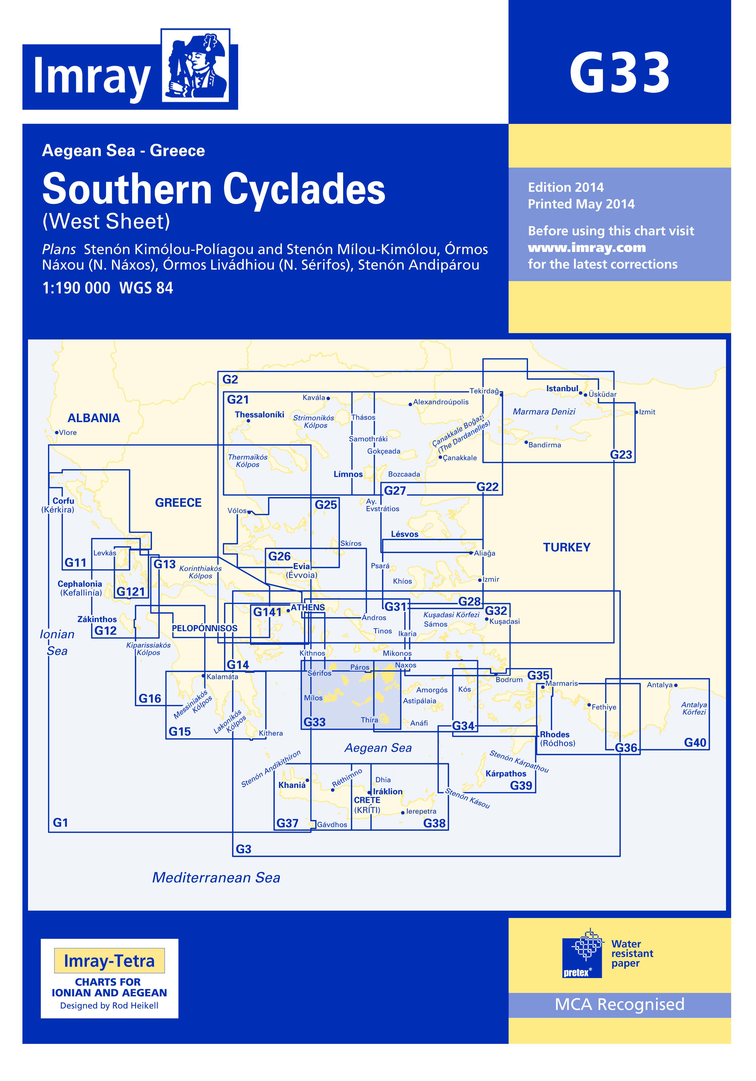 33.53 - Ναυτικός Χάρτης IMRAY ICG33-1Νότιες Κυκλάδες (Δυτική Πλευρά)