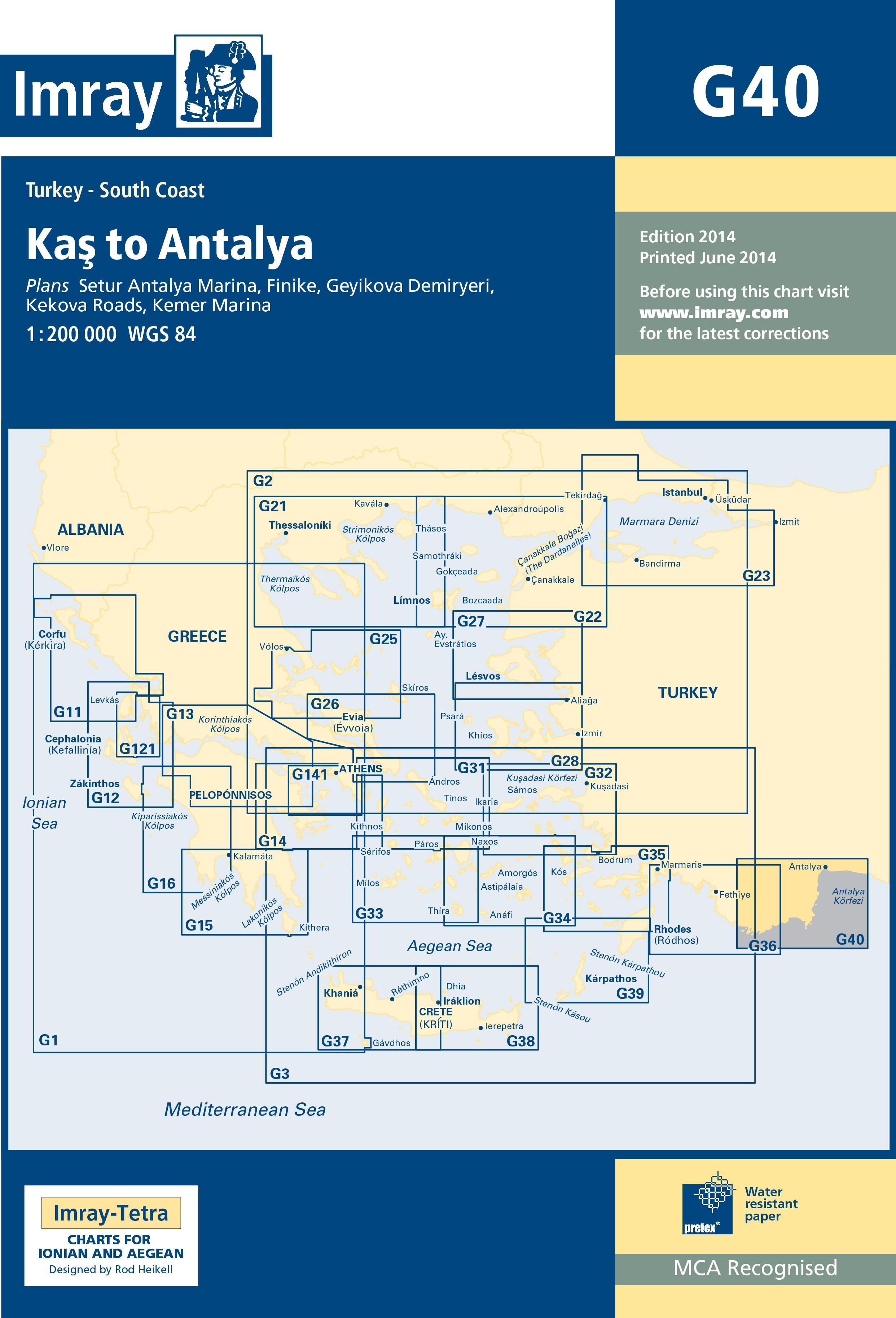 33.53 - Ναυτικός Χάρτης IMRAY ICG40-1 Κας έως Αττάλεια (Τουρκία)