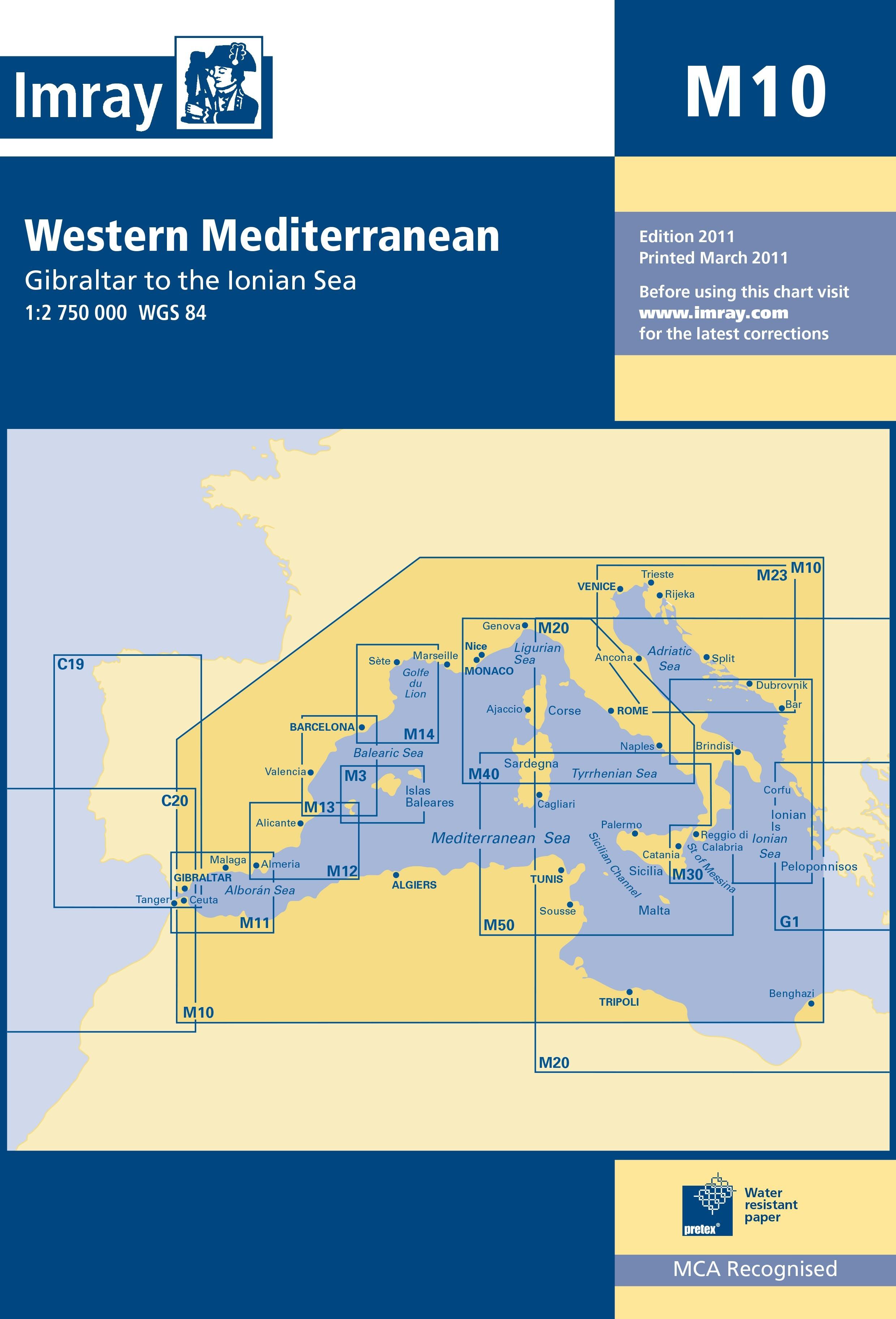 33.53 - Ναυτικός Χάρτης IMRAY ICM10-1 Δυτική Μεσόγειος