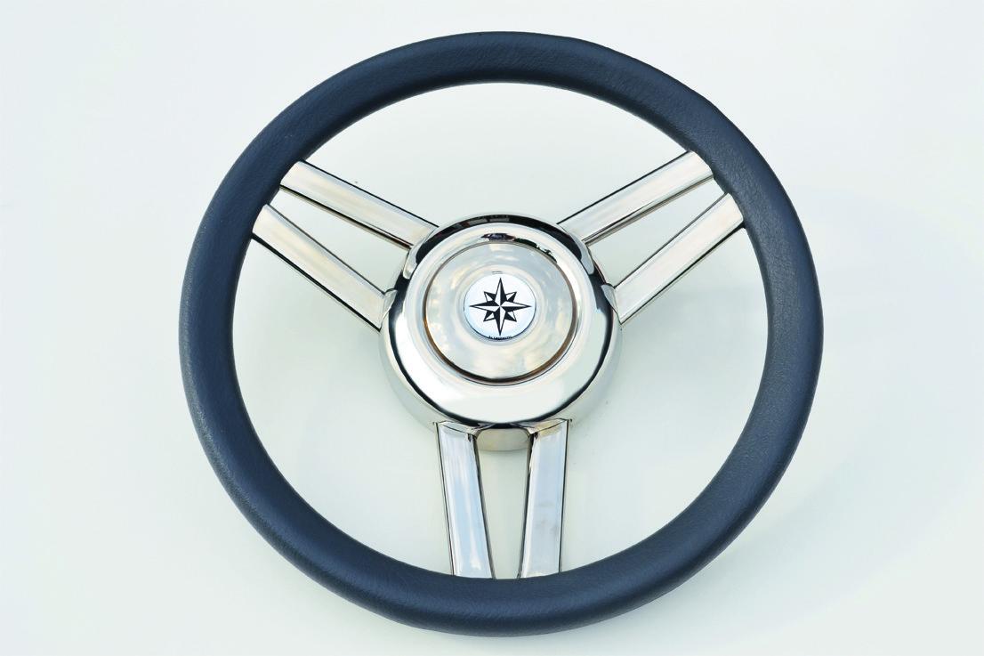 161.38 - Τιμόνι Πολυουρεθάνης Με Inox Ακτίνες Χρώμα Γκρι Ø350mm