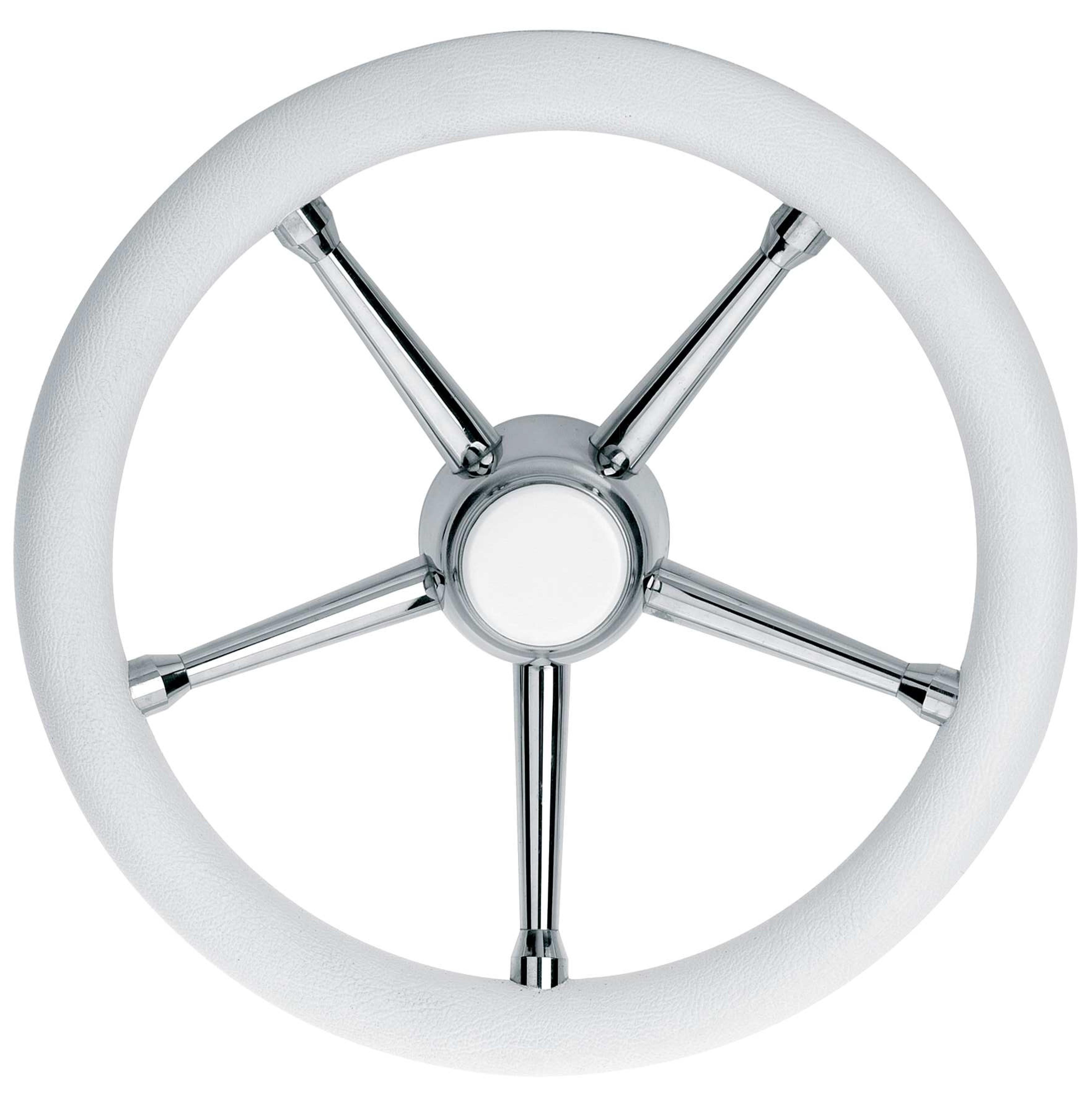 108.76 - Τιμόνι Πολυουρεθάνης Με Inox Ακτίνες Χρώμα Λευκό Ø350mm