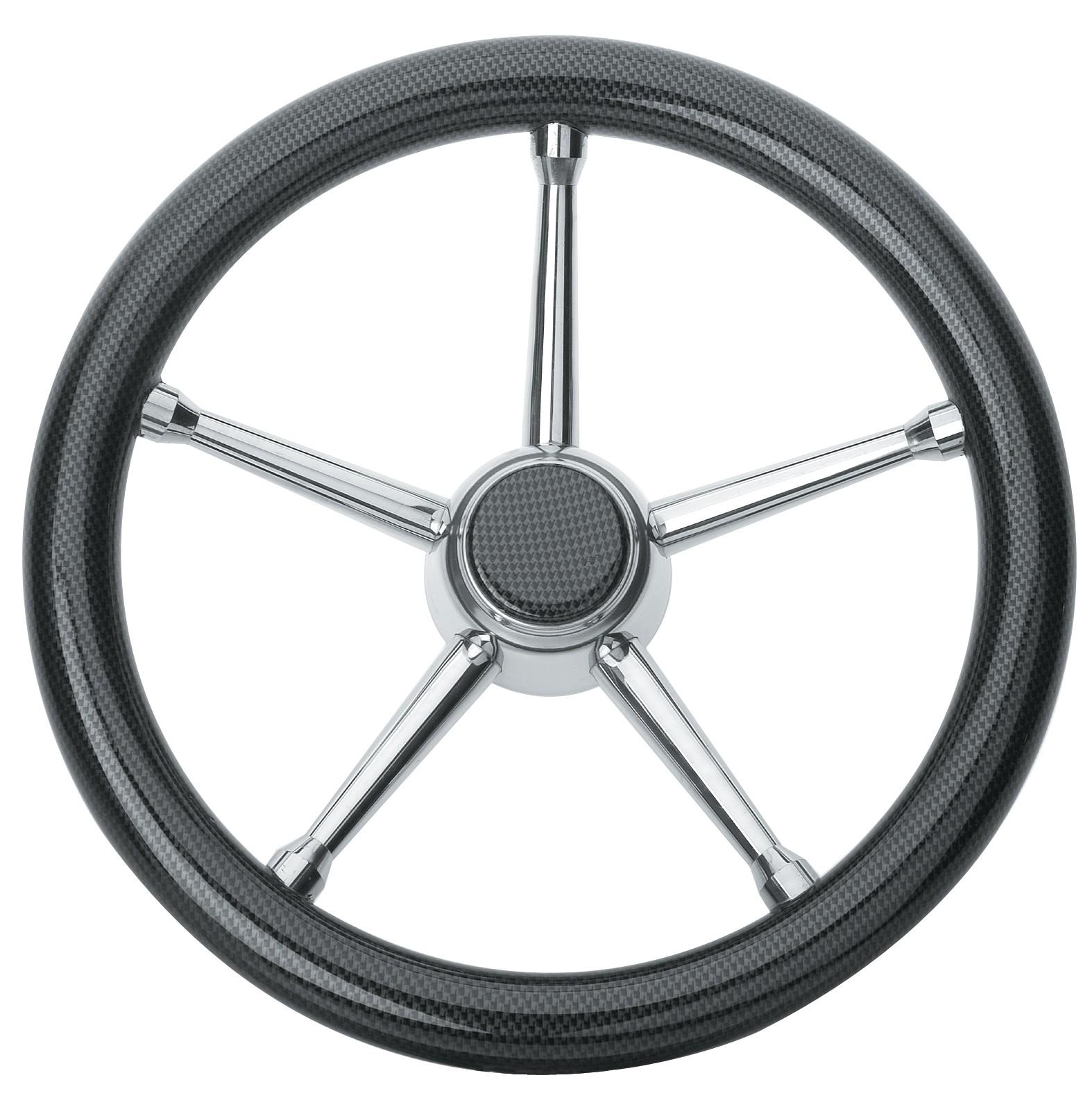 152.97 - Τιμόνι Πολυκαρμπονικό Με Inox Ακτίνες Χρώμα Carbon Ø350mm