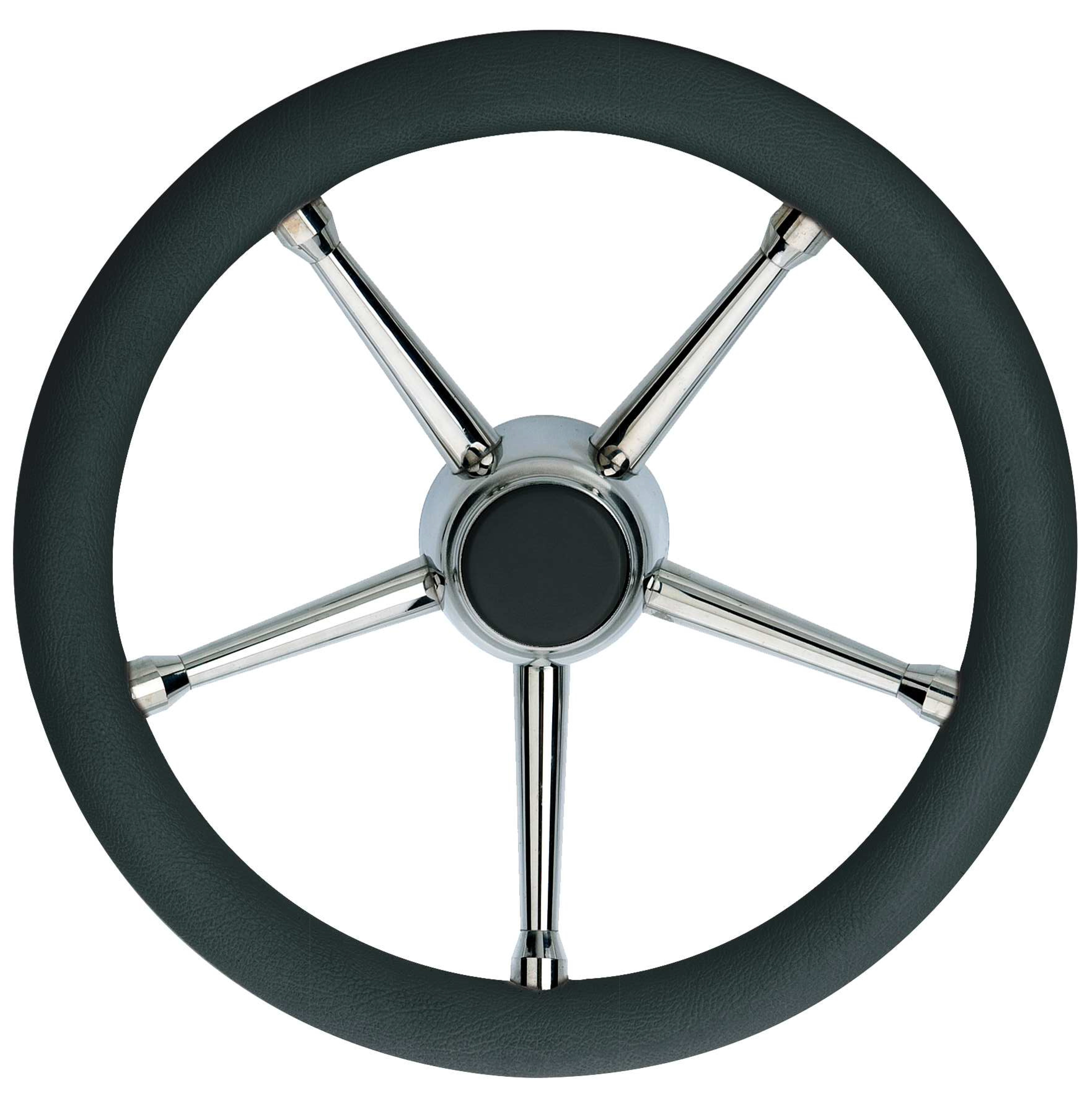 103.07 - Τιμόνι Πολυουρεθάνης Με Inox Ακτίνες Χρώμα Μαύρο Ø350mm