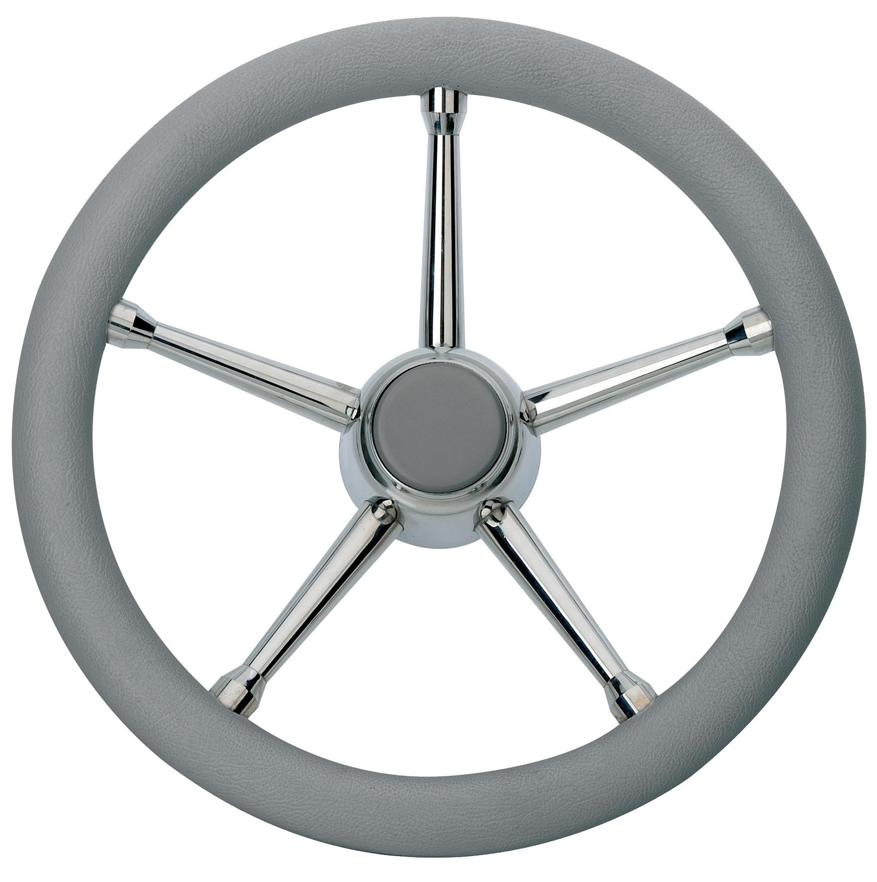 103.07 - Τιμόνι Πολυουρεθάνης Με Inox Ακτίνες Χρώμα Γκρι Ø350mm