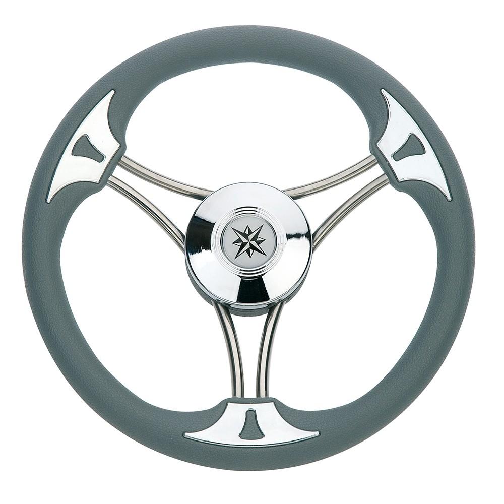 79.61 - Τιμόνι Πολυουρεθάνης Με Inox Ακτίνες Χρώμα Γκρι Ø350mm
