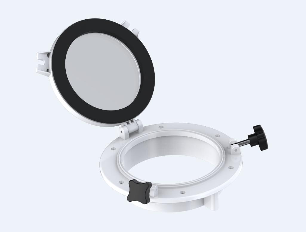 34.4 - Φινιστρίνι Στρόγγυλο Ανοιγόμενο Λευκό Εξωτερικής Διαμέτρου 215mm