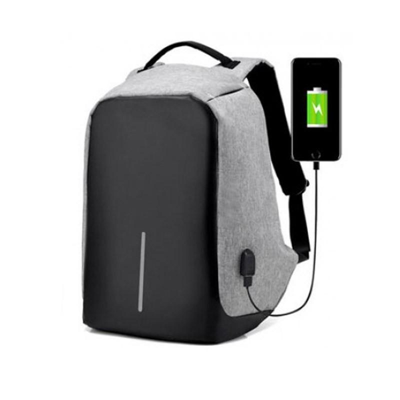 24.9 - Αντικλεπτικό Σακίδιο Πλάτης με Θύρα USB Χρώματος Γκρι ΟΕΜ