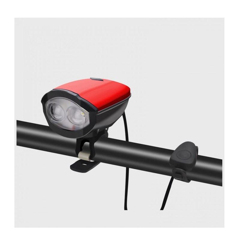 Φως & Κόρνα Ποδηλάτου με Micro-USB Χρώματος Κόκκινο