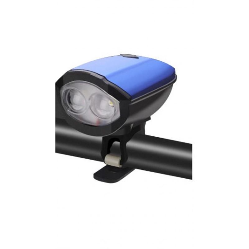 Φως & Κόρνα Ποδηλάτου με Micro-USB Χρώματος Μπλε
